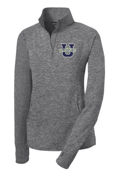 Urbana Hawks Half Zip Performance Stretch LADIES Sport Wick HEATHER Polyester Spandex Pullover Many Colors Available Sz S-4XL CHARCOAL GREY HEATHER