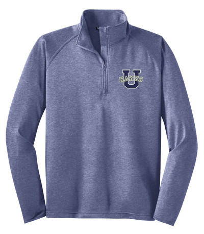 Urbana Hawks Half Zip Performance Stretch Sport Wick HEATHER Polyester Spandex Pullover Many Colors Available Sz S-3XL TRUE NAVY HEATHER