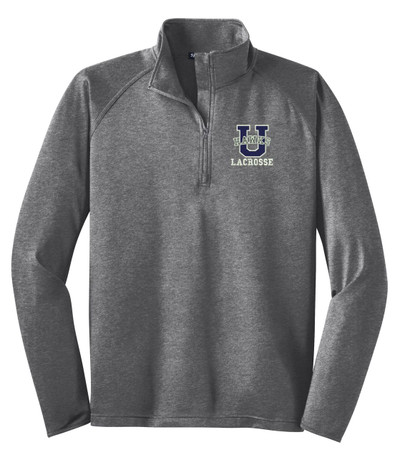 Urbana Hawks Half Zip Performance Stretch LACROSSE Sport Wick HEATHER Polyester Spandex Pullover Many Colors Available Sz S-3XL CHARCOAL GREY HEATHER