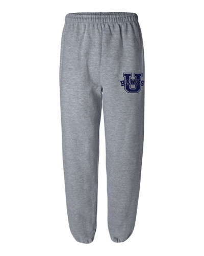 Urbana Hawks Sweatpants Cotton ELASTIC CUFF Colors Navy or Sports Grey Available YOUTH SIZES S-XL SPORTS GREY