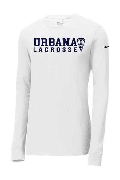 Urbana Hawks LACROSSE T-shirt LS NIKE Cotton Many Colors Available SZ S-3XL  WHITE