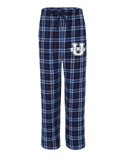 Urbana Hawks Flannel Lounge Pants with Pockets Boxercraft Unisex NAVY/CAROLINA BLUE YOUTH SZ S-L