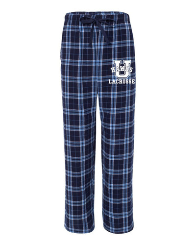 Urbana Hawks Flannel Lounge Pants LACROSSE with Pockets Boxercraft Unisex NAVY /CAROLINA BLUE YOUTH SZ S-L
