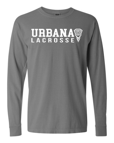 Urbana Hawks LACROSSE T-shirt Cotton COMFORT COLORS Long Sleeve Many Colors Available SZ S-3XL GREY