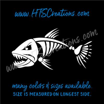 Fishbone Angry Fish Skeleton Prianah Fishing Vinyl Decal Laptop Car Door Mirror Truck Water Thermos WHITE