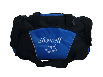 Music Notes Drama Theater Personalized Embroidered Zippered Duffel Bag ROYAL BLUE Font Style MONO CORSIVA