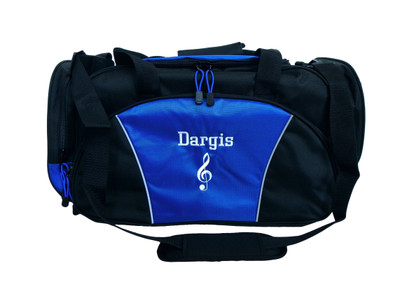 Music Clef Note Drama Theater Personalized Embroidered Zippered  Duffel Bag ROYAL BLUE FONT STYLE CHICAGO