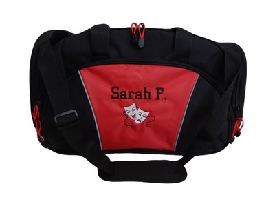 Theater Drama Masks  Comedy Tragedy Theatre Glee Club Chorus Personalized Embroidered Duffel Bag RED Font Style CHICAGO
