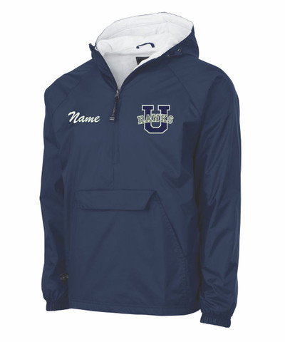 Urbana Hawks Half Zip Pullover Nylon Jacket Charles River Personalization Available YOUTH SZ S-XL NAVY with NAME PERSONALIZATION