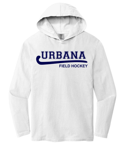 Urbana FIELD HOCKEY T-shirt Cotton Long Sleeve Hooded Shirt COMFORT COLORS Many Colors Available SZ S-2XL WHITE