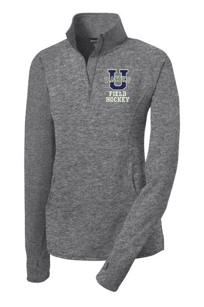 Urbana Hawks Half Zip FIELD HOCKEY Performance Stretch LADIES Sport Wick HEATHER Polyester Spandex Pullover Many Colors Available SIZE S-4XL CHARCOAL GREY HEATHER