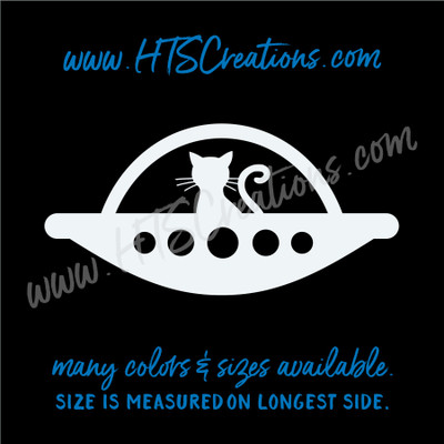 Alien Cat UFO Spaceship Extraterrestial Area 51 Outer Space Vinyl Decal Laptop Car Boat Mirror Truck Mirror Thermos