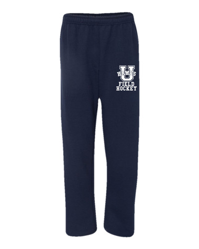 Urbana Sweatpants FIELD HOCKEY Cotton OPEN BOTTOM With Pockets Many Colors Available SIZE S-2XL NAVY