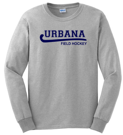 Urbana FIELD HOCKEY T-shirt Cotton LONG SLEEVE Many Colors Available YOUTH SZ S-XL SPORTS GREY