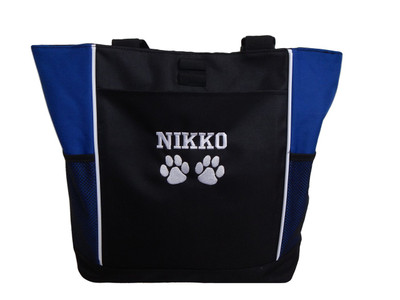 Paw Prints Vet Tech Veterinary Assistant Doctor Dog Groomer Walker Pet Sitting Custom Embroidered ROYAL BLUE Tote Bag Font Style VARSITY