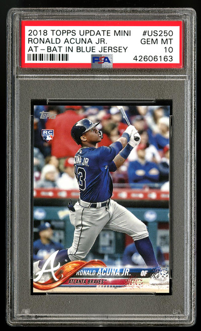 Topps Mini Ronald Acuna JR. US250 bat in blue jersey- front