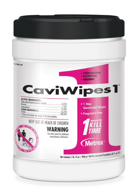 """CaviWipes1 Large 6""""x6.75"""", 1 Minute Clean and Disinfectant, 160ct/can 13-5100"""