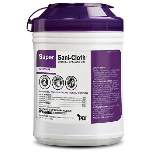 "PDI Super Sani-Cloth, 30 Kill Claims 2 Minutes, Large, 6"" x 6¾"", 160/canister"