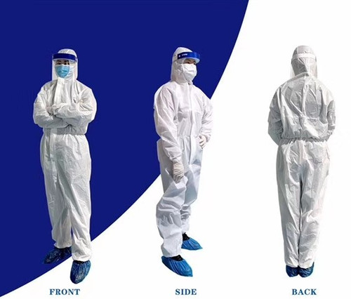 """Coverall Isolation Suit, Full Body, Non-Surgical Use No Foot Cover, Small 63"""" Body Height, ea"""