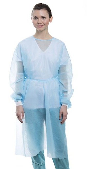 MaxCare Light Weight Fluid Resistant Non-Woven Isolation Gowns, Light Blue, 50/cs