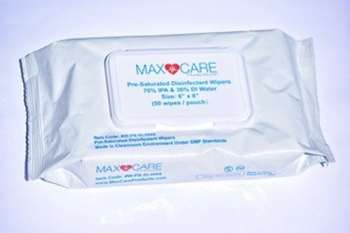 "MaxCare Disinfactant Wipes, 70% IPA, 6""x8"", 50/Soft Pack"