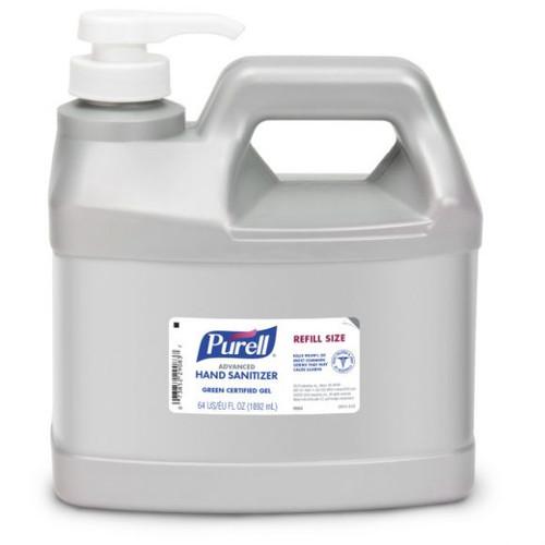 Gojo Purell Advanced Hand Sanitizer Green Certified, Half-Gallon Refill Pump Bottle, 64 oz ea