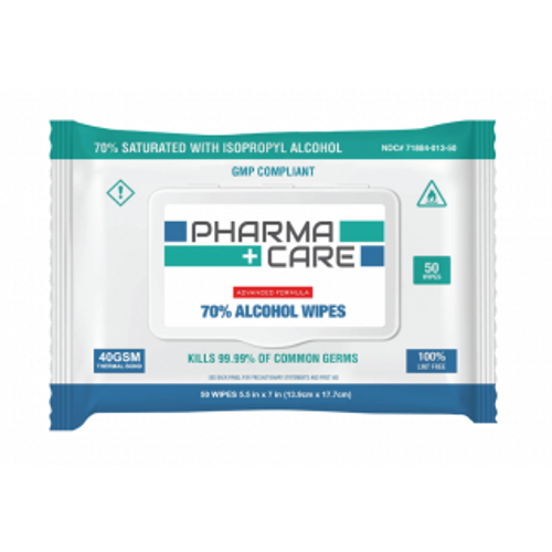 """Pharmacare 70% Alcohol Wipes, 5.5""""x7"""", 50/pack"""