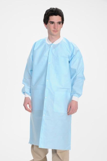 ValuMax Extra-Safe Lab Coat Knee Length, Sky Blue, Extra Large, 10/pk