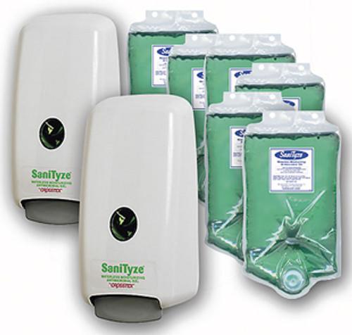 Crosstex SaniTyze Hand Sanitizer Wall Mount Promo Pack, 2 Dispenser, 6x1000ml Refill