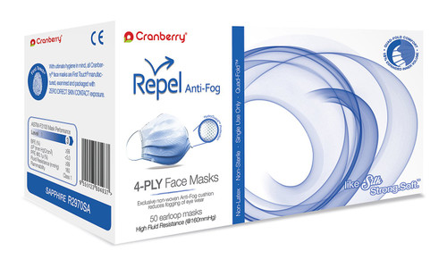 Cranberry REPEL Fog-Free Level 3 High Fluid Resistance Face Mask, Sapphire (Blue) 50/bx