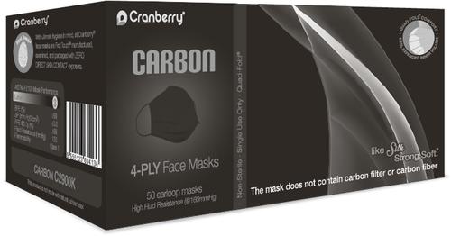 Cranberry CARBON Level 3, 4-Ply Fluid Resistance Face Mask, Black, 50/bx