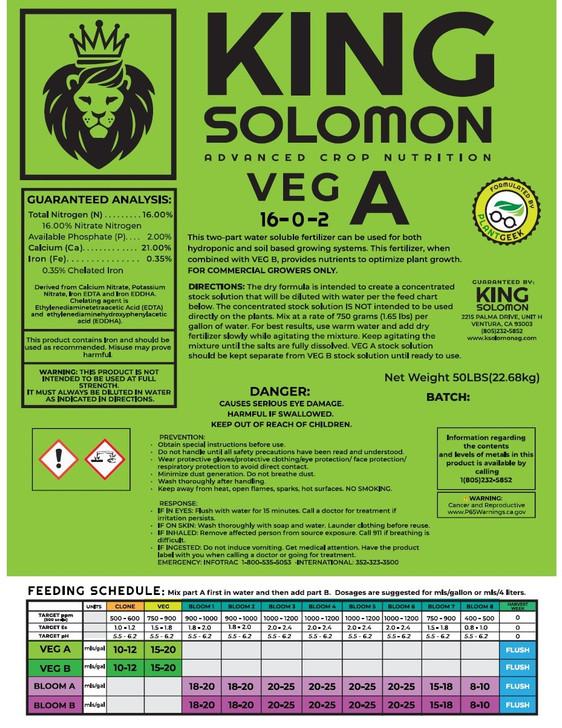 King Solomon VEG A 50lb bag 16-0-2