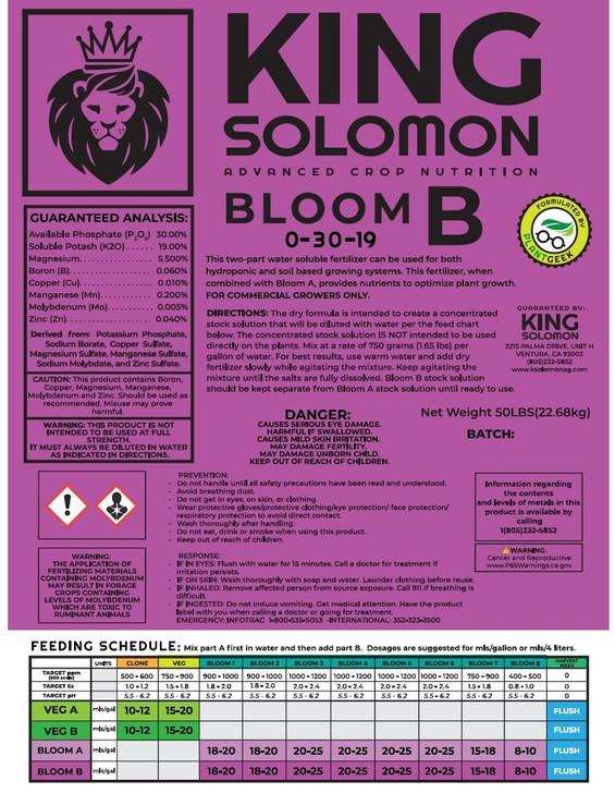 King Solomon BLOOM B 50lb bag 0-30-19