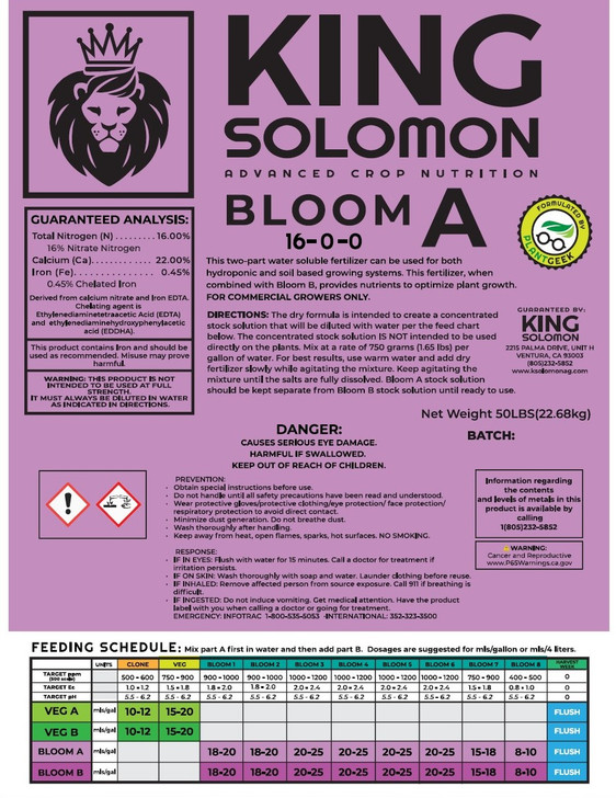 King Solomon BLOOM A 50lb bag 16-0-0