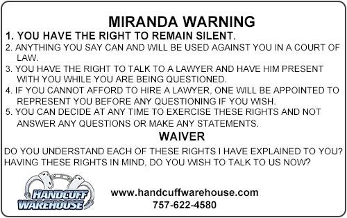 Miranda Warning Card