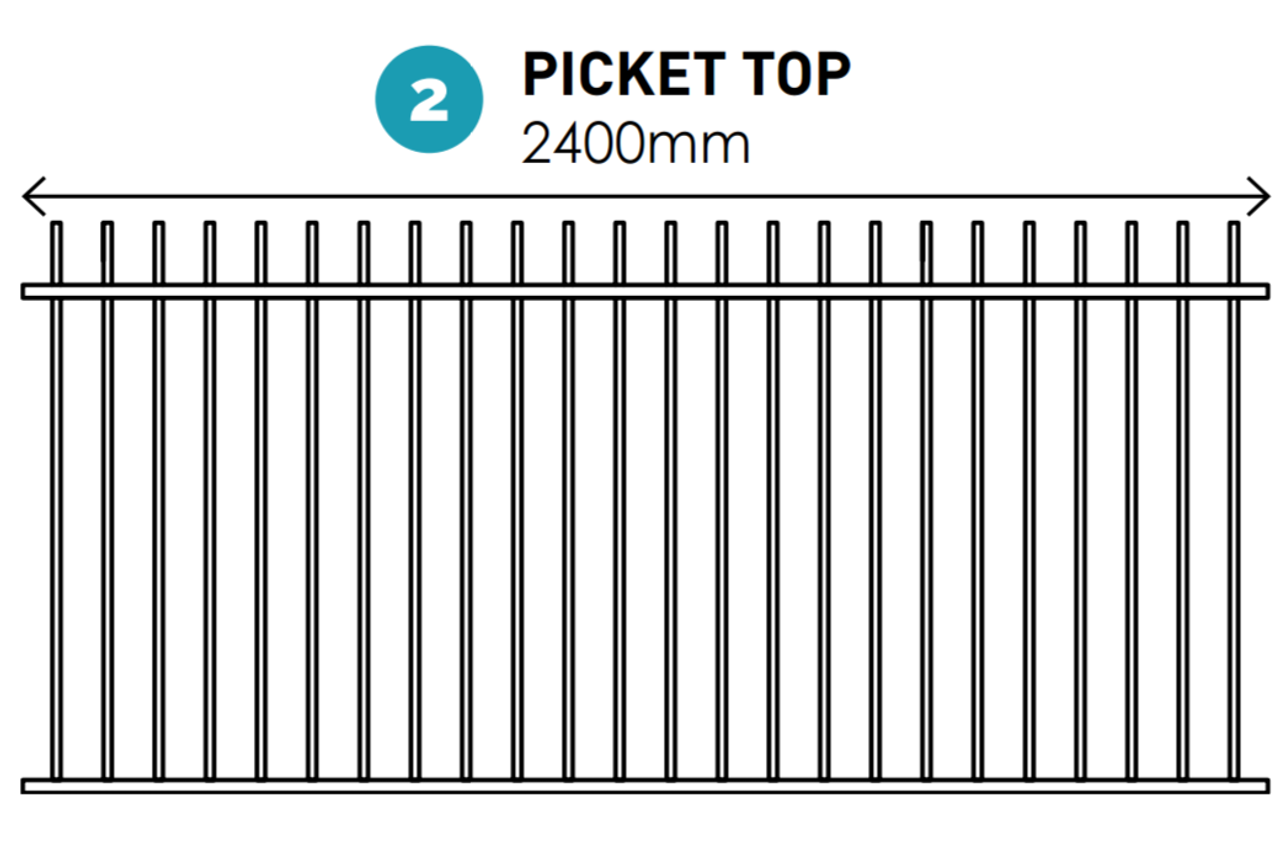 1200mm high Picket Top - Garden and Pool Certified Fence Panel