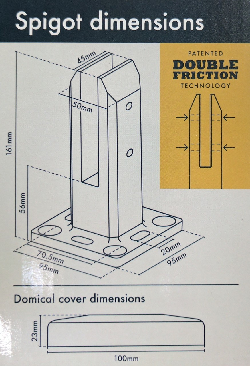 Adjust Easy' Square Premium Designer Spigot (To Bolt Down) with patented 'double friction' technology. - Includes Cover Plate!