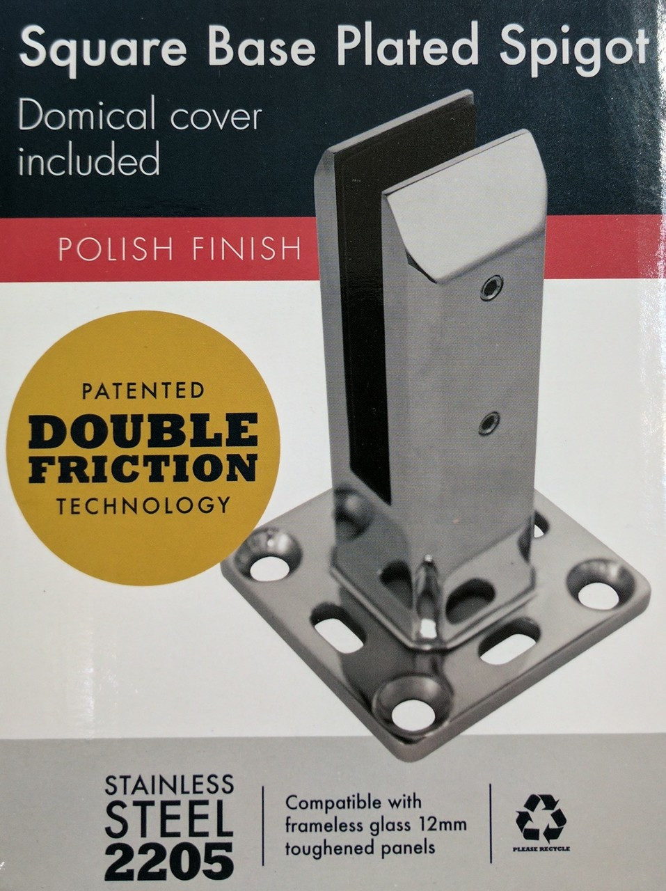 2205 Stainless Steel 'Double Friction' Spigot for Frameless Glass Pool Fencing, to bolt down - Includes Cover.