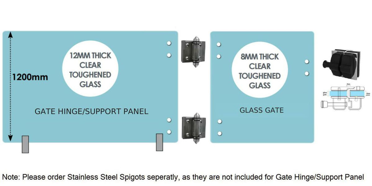 Standard Glass Gate Kit  - 1700mm wide gate hinge/support panel + 900mm* wide gate (Covers 2.6m approx.)