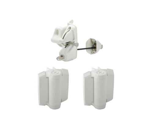 Heavy Duty Deluxe Lockable Latch and Hinge Kit - White