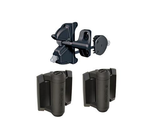 Heavy Duty Deluxe Lockable Latch and Hinge Kit - Black