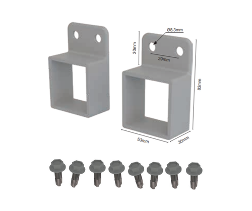 Aluminium Horizontal Brackets for Rail - Pack of 2 (Includes 8 screws) - Choose your colour