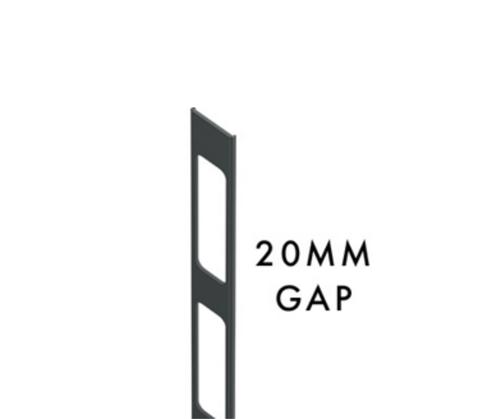 Aluminium Insert for C-Channel - 20mm Gaps - 2100mm Long