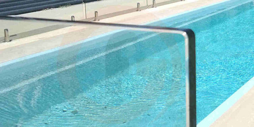 1450Wx1200Hx12mm Frameless Glass Pool Fence Panel, 'A' Grade Quality, Australian Standards Pass Mark, Clear Toughened, Polished Edges and Corners.