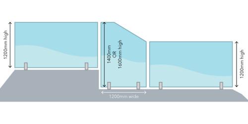1600mm high Glass Retaining Wall Panel