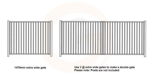 Extra Wide Single Gate - 1475mm wide x 1.2m high - Woodland Grey