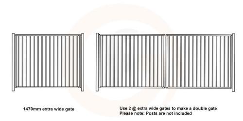 Extra Wide Single Gate - 1475mm wide x 1.2m high - Woodland Grey