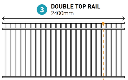 Double Top Rail Fence Panel - 2.4m wide x 1.2m high - Black, Pool Grade, Custom Made in 2 weeks.