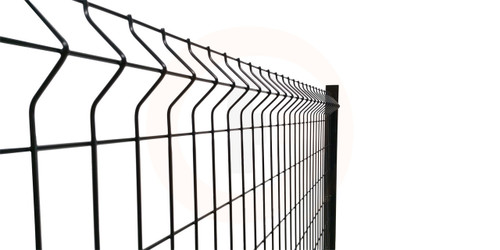 Powder Coated Black Handy Mesh Fence Panel with 'V' fold.
