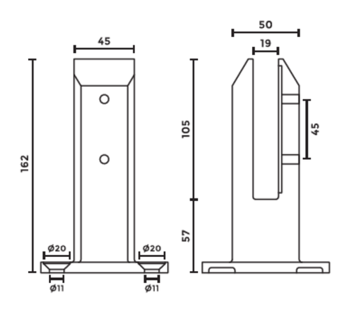 Square Glass Spigot Dimensions